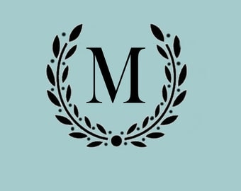 STENCIL Custom Initial Monogram Wreath - Various sizes