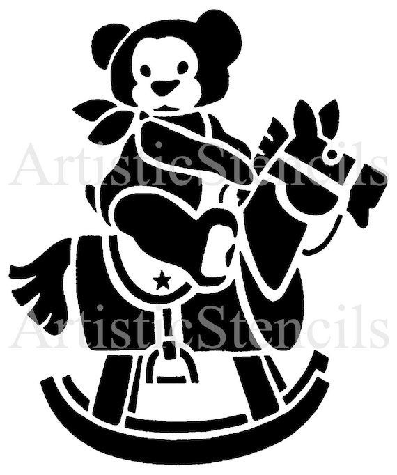 STENCIL Vintage Teddy Bear on Rocking Horse