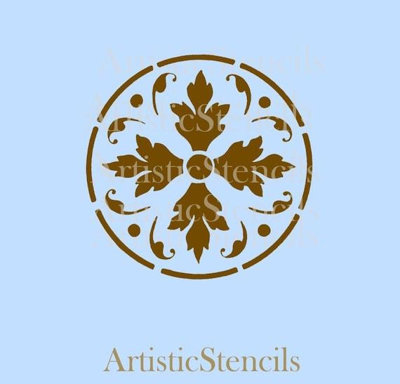 STENCIL Damask Floral Background  No 357  8x8