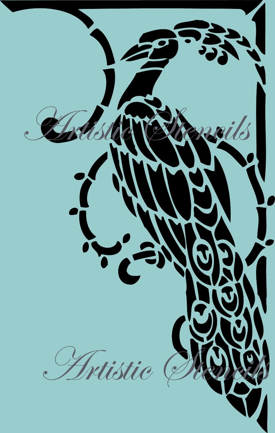 Art deco peacock reusable stencil 4 wall art home decor wall for Stencil wall art