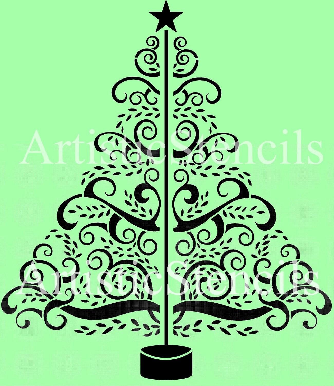 Christmas Tree Stencils: Scrolly Christmas Tree Reusable Stencil