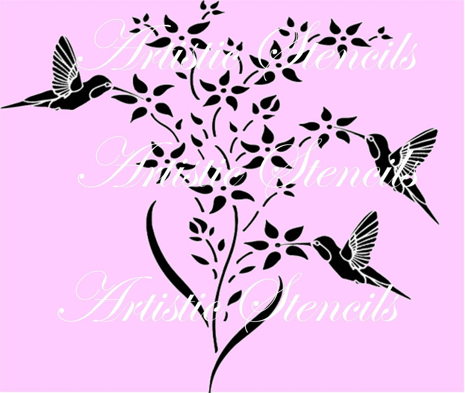 Dragonfly bathroom decor - Hummingbirds And Flowers Reusable Stencil 10 X 13 Wall Art
