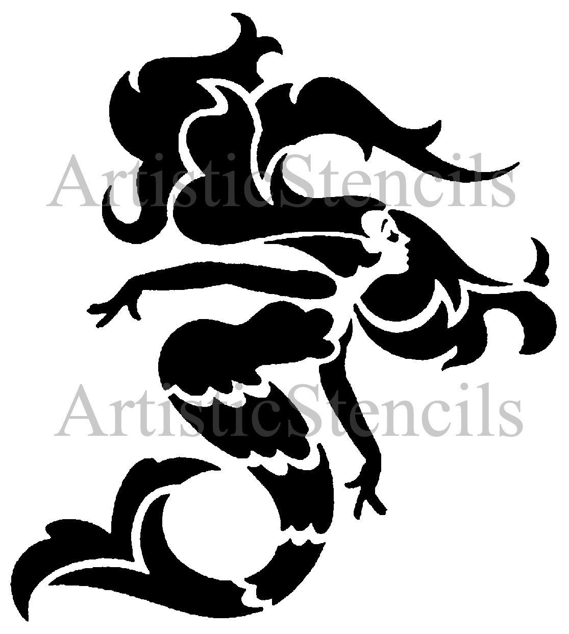 Stencil Art Deco Mermaid 10x9