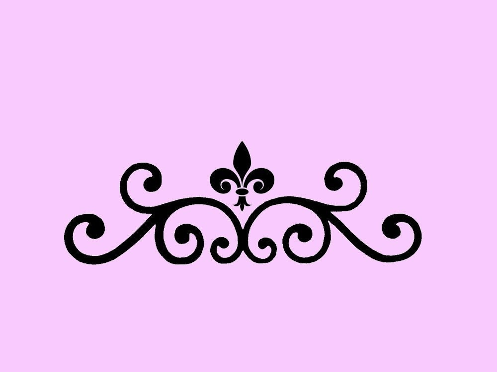 stencil fleur de lis scroll 7x2. Black Bedroom Furniture Sets. Home Design Ideas
