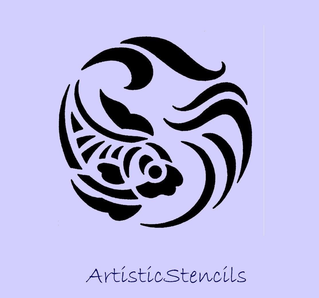 stencil art deco tropical fish various sizes