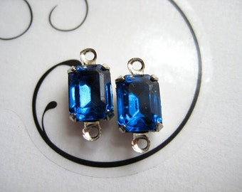 8x6 mm Swarovski Crystal Capri Blue Octagon Mounted in Silver Prong Settings Qty 1 Pair