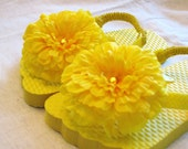 Yellow Flip-Flops with Matching Flower and FREE Matching Hairclip