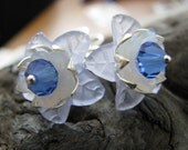 On Sale - Price Reduced:  Heavenly Blue Lucite Flower Earings