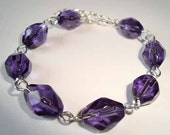 Elegant Purple Bracelet Faceted Beads Glass Bracelet