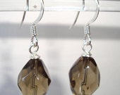 Elegant Smoky Brown Earrings Dangle Faceted Glass Earrings - Jewelry For A Dollar
