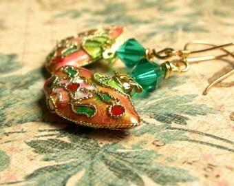 Orange Cloisonne Earrings,Asian Fan Earrings