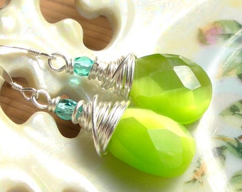Lime Crystal Briolettes,Silver Wirewrapped Earrings