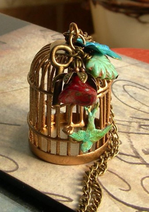 Bird Cage Necklace,Locket Necklace,Birdcage Pendant,Patina Butterfly and Bird