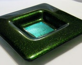 Aventurina Metallic Green  Kiln-Formed Artisan Fused Glass Dish