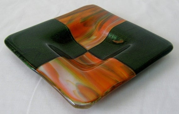 Bottle Hunter Green and Marble  Kiln-Formed Artisan Fused Glass Dish 22