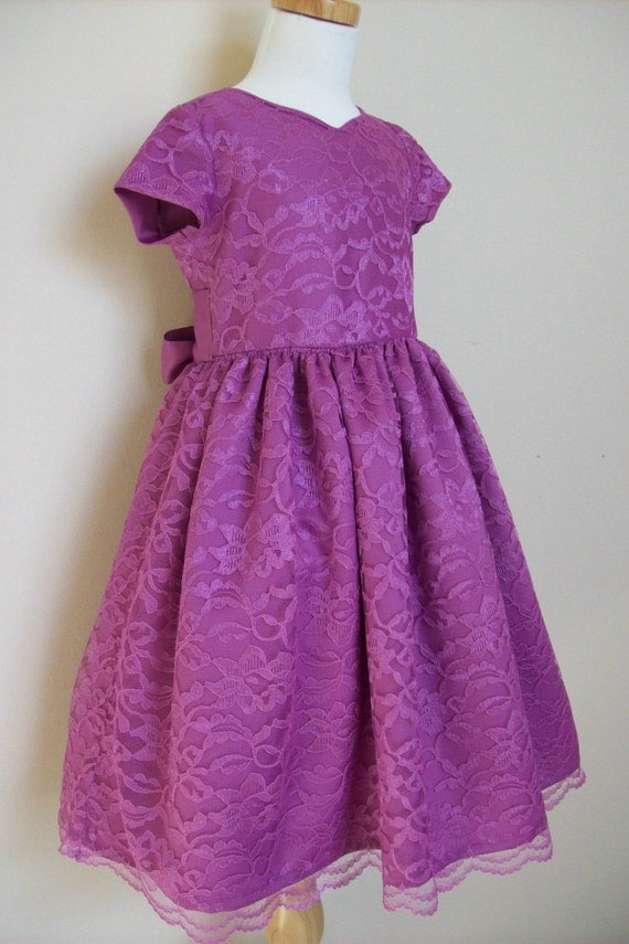 Girls Size 7 dress, Easter, Sunday Best, Raspberry Satin and Lace.  Already made and ready to ship.
