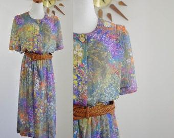 Vintage 80s Dress, Garden Party Floral Dress, Shirtwaist Dress, Flower Dress, Short Sleeve Dress, Pleated Skirt Dress, 1980s Dress, Large