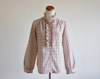 Vintage Plaid Shirt -- Orange Black Ruffle Button Down Blouse -- Medium