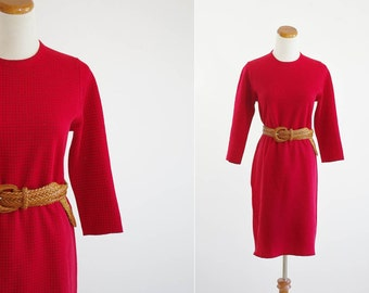 Vintage Houndstooth Dress, 60s 70s Dress, Red Dress, Shift Dress, Three Quarter Sleeves, Petites Dress, Small