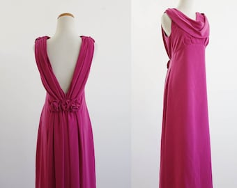 Vintage Bridesmaid Dress, Pink Draped Dress, Formal Gown, Rosette Dress, Backless Gown, Low Back Draped Front Dress, Bust 36 Medium