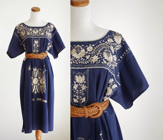 Vintage embroidered mexican dress plus size navy blue gold