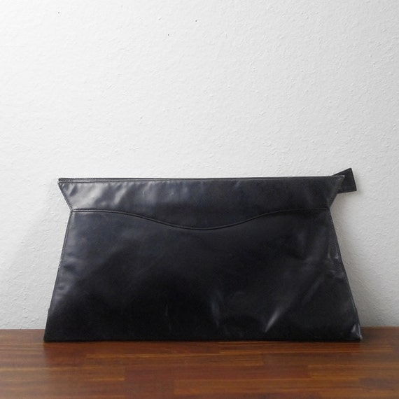 Vintage Clutch Purse -- Navy Blue Geometric Oversized Bag