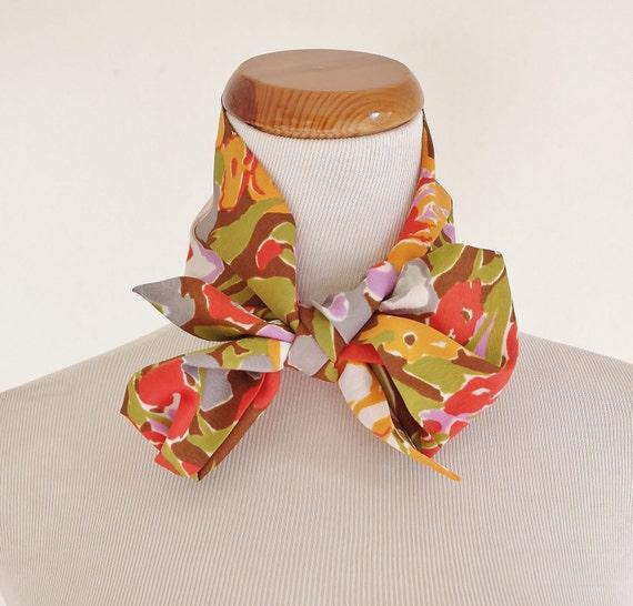 Vintage Skinny Scarf -- Retro Neck Scarf -- 60s Scarf -- Floral Brown Orange Purple & Green