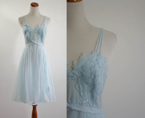 Vintage 60s Lingere // Ethereal Blue Flower Nightgown // Small