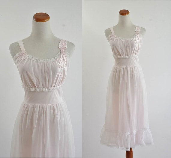 Vintage Nightgown -- Ethereal Pale Pink & White Lace Ruffle Lingere -- Small Medium
