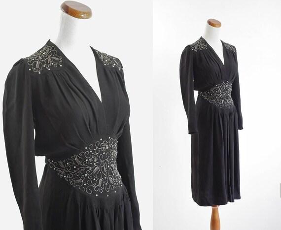 40s Dress -- Black Beaded Dress -- 1940s Evening Dress -- XS Small