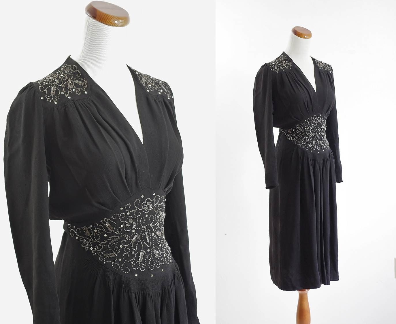 40s Dress Black Beaded Dress 1940s Evening Dress by mituvintage