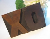 4 Inch Vintage Letterpress Wood Type Large  XO - 4 Inch Hug & Kiss
