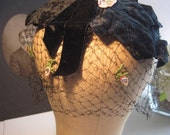 RESERVE PENDING - 1950s Black Velvet and Netting Ladies Hat ... bowed, flower and rhinestone appliques