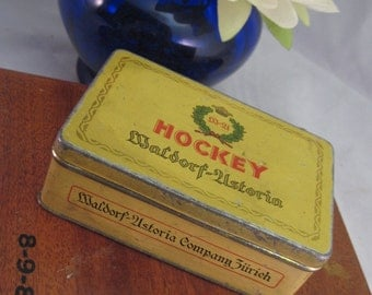 Antique Tobacciana Lot RARE Waldorf-Astoria HOCKEY Cigarette Tin, Vintage Collectible