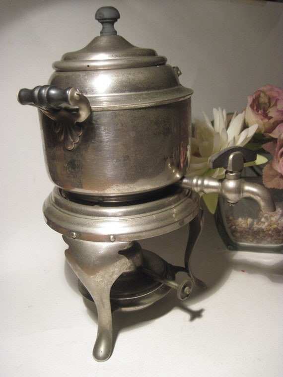Antique Coffee Pot Meteor Percolator with Alcohol Burner by Manning-Bowman Co. Silver Metalware - early 1900s