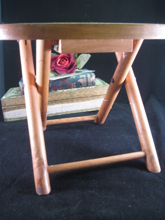 Vintage Folding Wooden Stool by Nevco FOLDN CARRY made in Yugoslavia ... Fathers Day Fishing or Gardening Stool