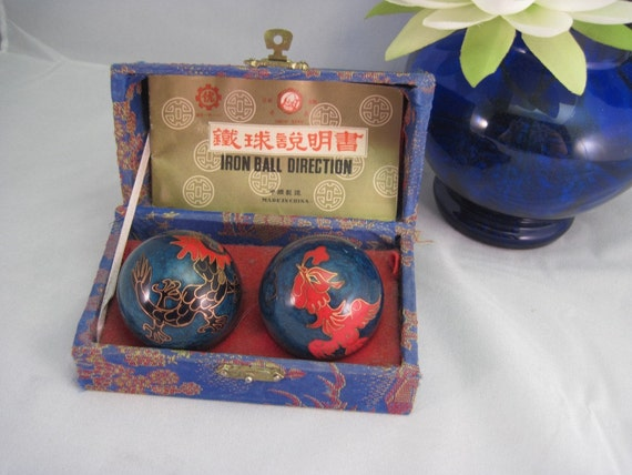 Vintage Shouxing Chinese Iron Balls ... chiming musical therapy with dragon and bird