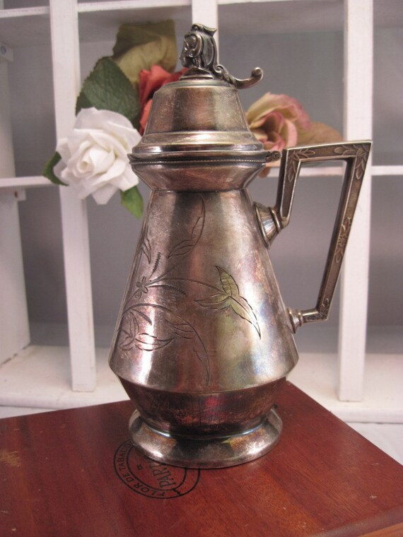1870's Antique Victorian Silverplate Pitcher  - Aurora Triple Plate Syruper - Victorian