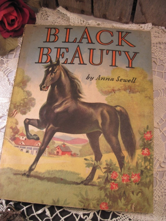 Vintage Black Beauty by Anna Sewell ... Large Print Paperback Children's Book, Illustrated 1940's