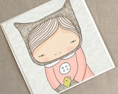 """Cute Greeting Card - Bear and Birds - Elka and the Bird-  5.9 x 5.9 """" or 150x150 mm"""