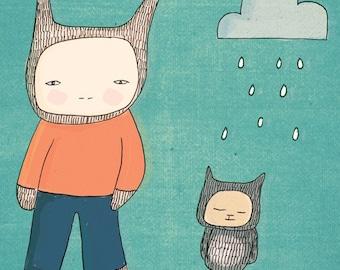 Modern Illustration Bunny Rabbit and Fred - Aqua