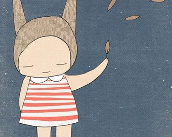 Children Illustration- Bunny Rabbit Girl Stripes - Blue and Coral - Art Print