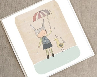 "Greeting Card -Honeycup Bunny Rabbit and Mr Bird  -  5.9 x 5.9 "" or 150x150 mm"