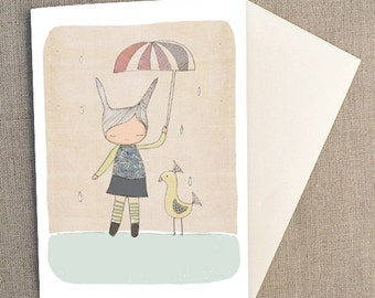 "Baby Card -H oney Cup Bunny Rabbit and Mr Bird -  C6 greeting card 11w x 15.5 h cm (4.4x6.1"")."