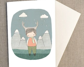 "Greeting Card -Deer Boy in Swiss Mountains -  Green Version, C6 greeting card 11w x 15.5 h cm (4.4x6.1"")."