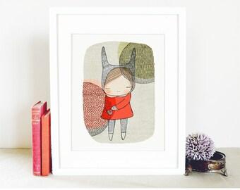 Rabbit Art Print for Children - Little Girls Room