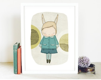 Nursery prints australia - Flissy The Bunny Rabbit, With Blue Coat and Circles