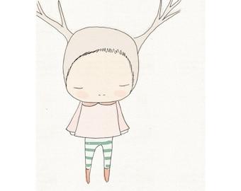 Nursery Wall Art, Deer Art Prints, Kids Wall Art, Deer Wall Art, Gifts For Kids, Nursrey Decor, Nursery Wall Decor, Deer, Pale Pink, Green