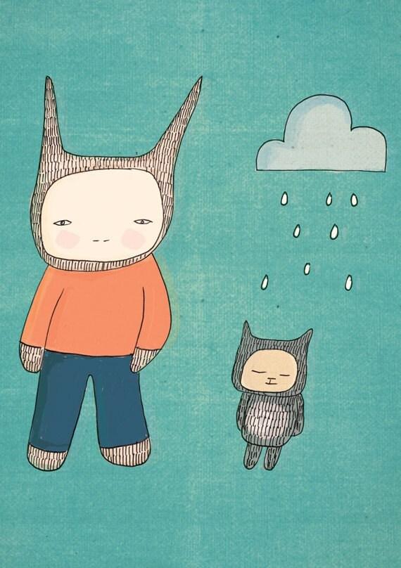Art Print Rabbit and Fred Teal Illustration