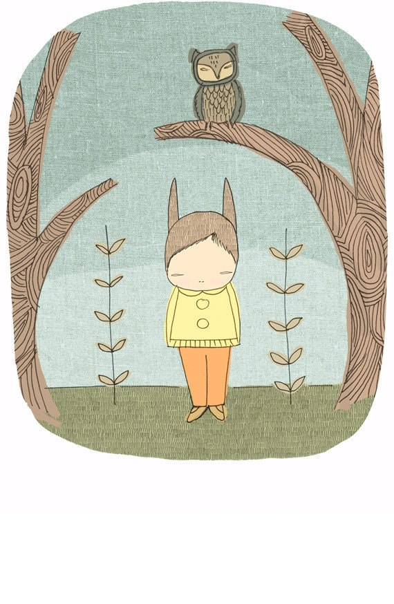 Owl and Bunny Illustration -(Woodlands Forest)- Milke in The Woods